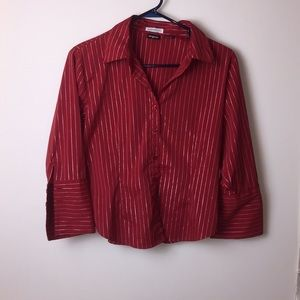 Tangent red and silver striped button down top.